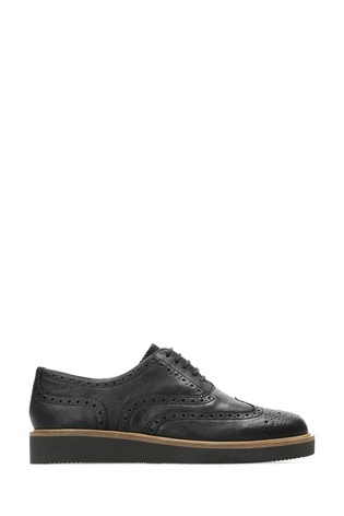 Clarks Black Leather Baille Brogue Shoes