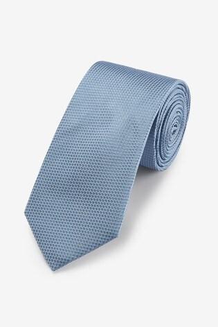 Light Blue Wide Signature Textured Silk Tie