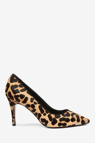 Dune London Anna Leopard Print Leather Croc Effect Court Shoes