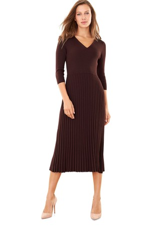 Pure Collection Brown Knitted V-Neck Pleat Dress