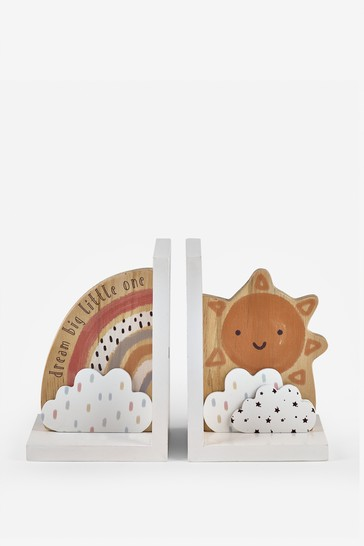 Set of 2 Wooden Bookends