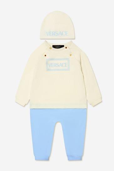 Baby Boys White/Blue Romper Gift Set