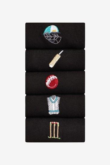 Black Cricket 5 Pack Embroidered Socks
