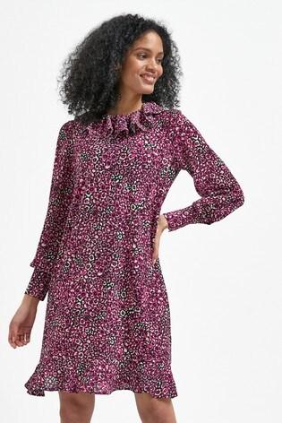 Pink Animal Frill Neck Mini Dress
