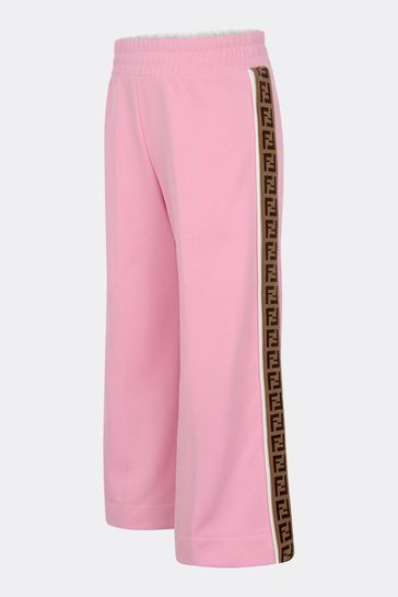 Girls Pink Logo Trim Trousers