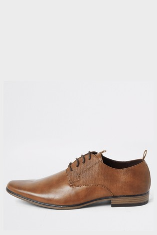 River Island Brown Medium Taping Emboss Derby Shoes