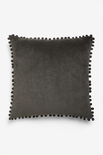 Soft Velour Pom Edge Square Cushion
