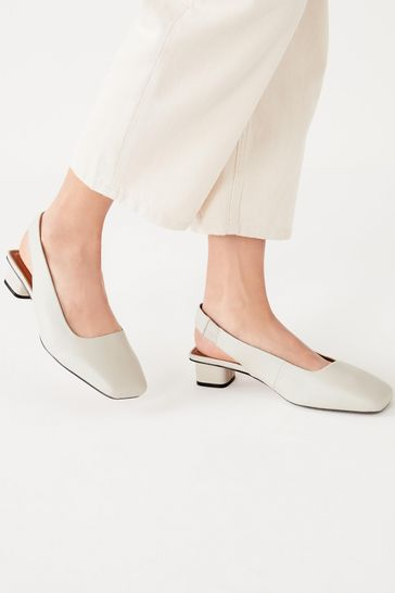 Bone Extra Wide Fit Leather Slingback Block Heel Shoes