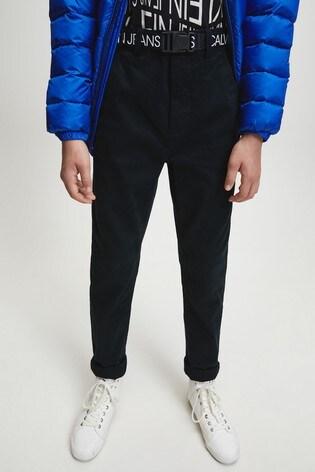 Calvin Klein Black Logo Belted Tapered Chinos