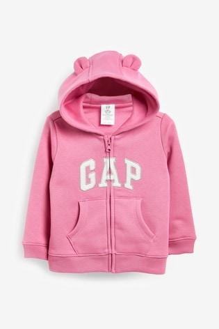 Gap Classic Logo Zip Through Hoodie With Ears