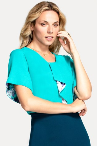 HotSquash Turquoise River Tie Bat Sleeved Top