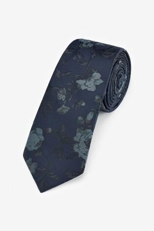 Dark Navy Floral Tie
