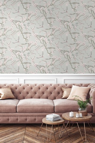 Sublime Japan Grey/Pink Wallpaper by Art For The Home