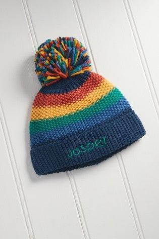 Multi Personalised Rainbow Stripe Hat