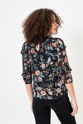 Oasis Black Floral Print Top