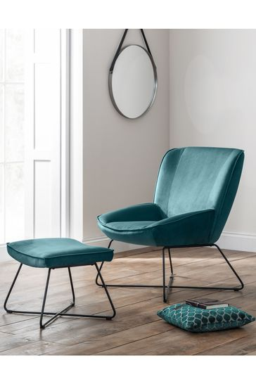 Mila Teal Accent Chair and Stool by Julian Bowen
