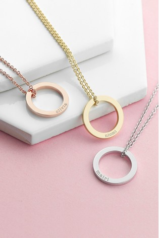 Personalised Family Ring Necklace by Treat Republic