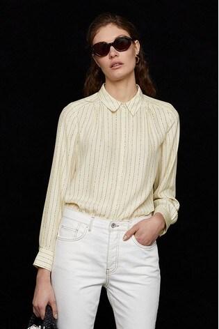 Jigsaw Brown Linear Dash Silk Shirt