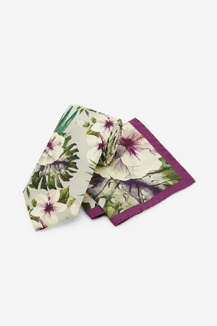 Green/Purple Signature Floral 'Made in Italy' Tie