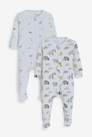 Ecru 2 Pack Safari Zip Sleepsuit (0-18mths)