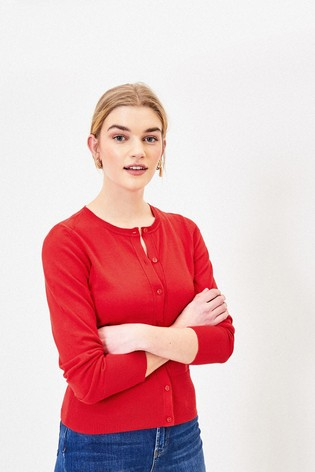 Oasis Red Crew Knit Cardigan
