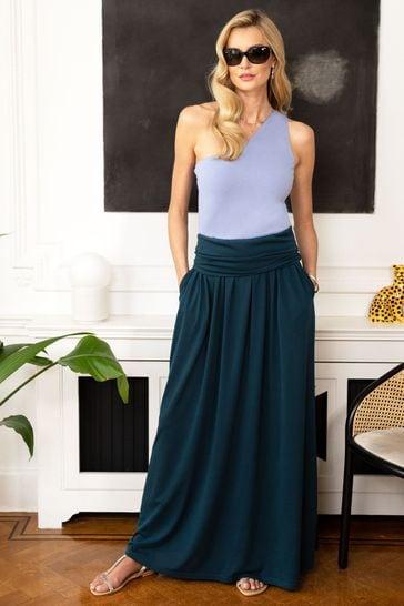HotSquash Teal Roll Top Maxi Skirt