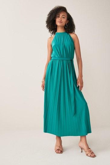 Green Pleated Halter Dress