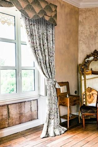 The Chateau by Angel Strawbridge Wildlfower Garden Pencil Pleat Curtains