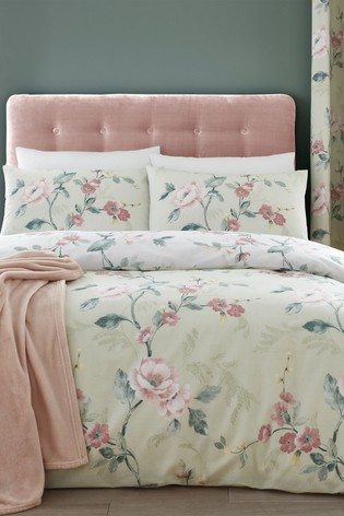 Catherine Lansfield Green Floral Trail Duvet Cover and Pillowcase Set