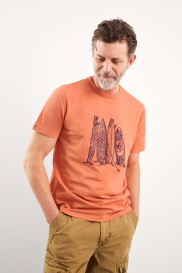 White Stuff Orange Surfboard Organic Graphic T-Shirt