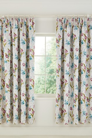 V&A Spring Tulips Pencil Pleat Curtains
