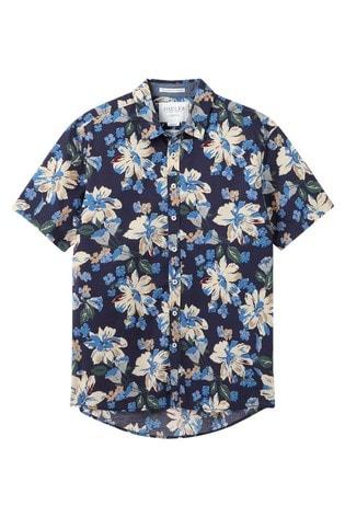 Joules Blue Lloyd Short Sleeve Classic Fit Printed Shirt