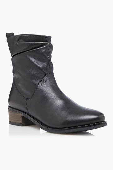 Dune London Pagers 2 Ruched Low Block Heel Ankle Boots