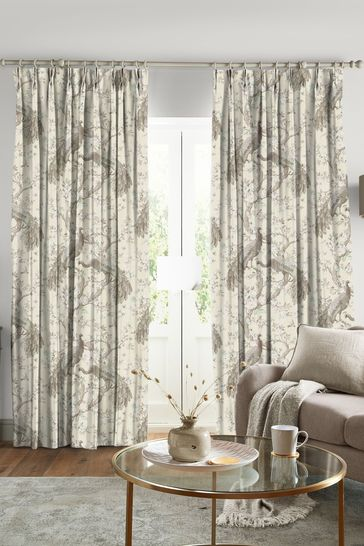 Laura Ashley Belvedere Soft Truffle Made to Measure Curtains