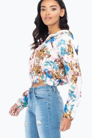 Hype. Gold E1 Womens Crop Zip Pullover Hoody