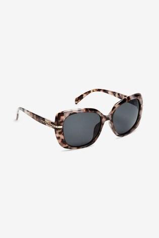Light Tortoiseshell Effect Chain Arm Detail Polarised Sunglasses