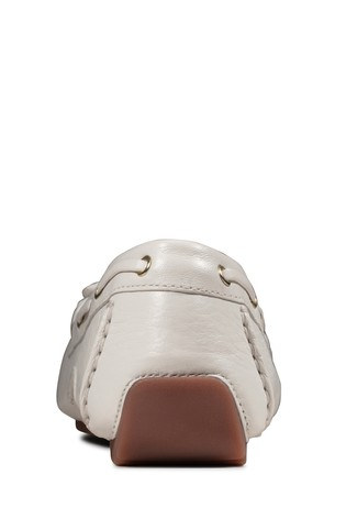 Clarks White Leather C Mocc Boat Shoes