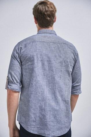 Dark Blue Regular Fit Linen Blend Roll Sleeve Shirt