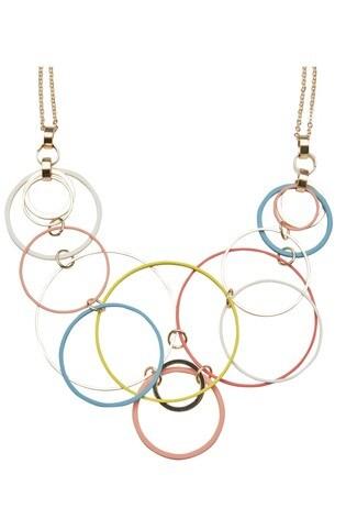 Oliver Bonas Red Columbus Multi Loop Mixed Coat Collar Necklace