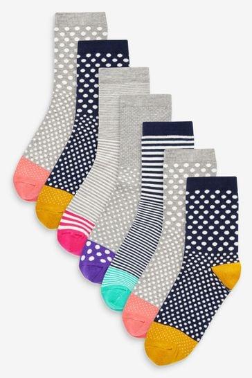 Bright Spot Stripe  Ankle Socks 7 Pack