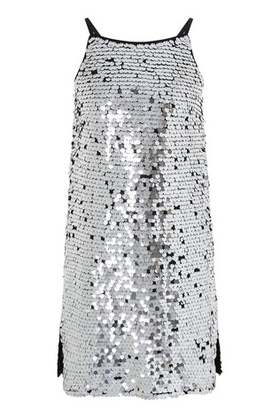 Monsoon Silver Sabella Sequin Prom Dress