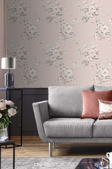 Catherine Lansfield Pink Canterbury Floral Wallpaper