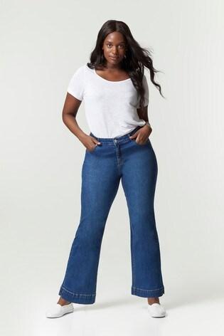 Evans Curve Regular Mid Wash Wide Leg Jeans