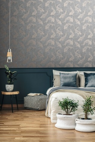 Boutique Pisces Slate Grey Wallpaper by Art For The Home