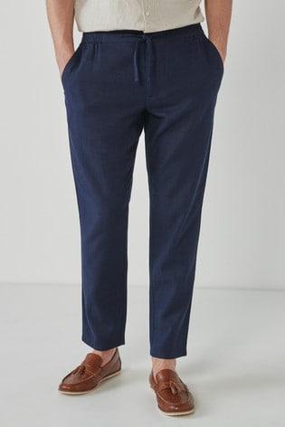 Navy Regular Fit Elasticated Waistband Linen Trouser