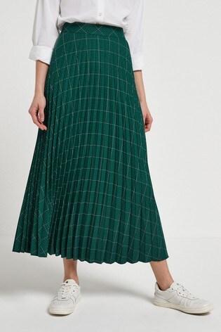 Green/Black Check Pleated Skirt
