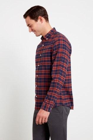 F&F Navy/Orange Flannel Check Shirt
