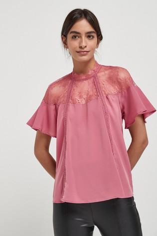 Blush Lace Trim Occasion T-Shirt