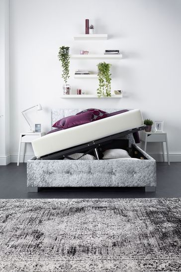 Aspire Side Lift Ottoman Fabric Bed Frame and Mattress