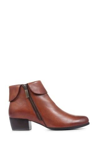 Pavers Tan Cognac Leather Ladies Ankle Boots